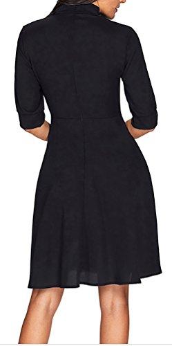 Cravatta Fessura Patchwork Giuntura Retro Falsa Nero Vestito Vestito Del Dell'arco wZfYAxqpT
