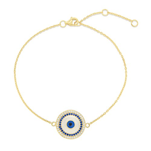 Sterling Silver Cubic Zirconia And Synthetic Sapphire Evil Eye White Enamel Circle Bracelet with Adjustable Length. (14K Yellow Gold Plated)