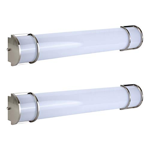 OSTWIN 36 Inch Dimmable LED Linear Bath Vanity Light Bar, Modern Bathroom Vanity Light Fixture 30W 5000K Daylight, Vertical or Horizontal Tube, Brushed Nickel Finish(2 Pack) ETL&Energy Star Listed
