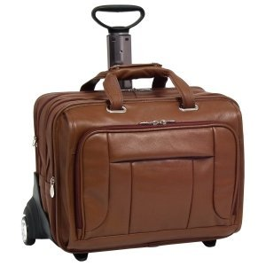 Mcklein Co-computer 17'' Brown West Town Leather ''fly-through'' Checkpoint-friendly Detachable-wheeled Notebook Case - by McKleinUSA