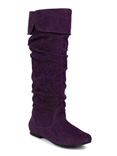 - Alrisco Women Faux Suede Slouchy Calf High Riding Boot - IA93 - Purple Faux Suede (Size: 7.0)