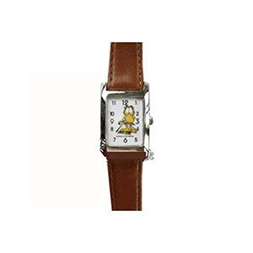Square Garfield Watch w/ Brown Leather Band