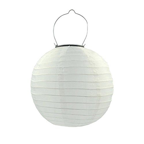 RoseSummer 12 In Solar Powered Nylon Lantern Waterproof LED Light Outdoor Hanging Lamp Yard Garden Decor (White)
