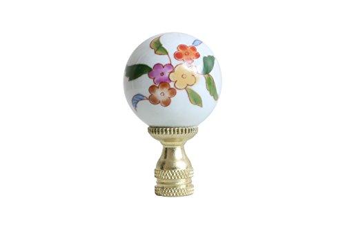 Porcelain Ball Finial - Multicolor Floral Pattern Porcelain Ball Lamp Finial
