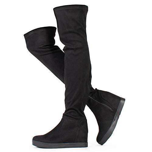 RF ROOM OF FASHION Women's Vegan Suede Hidden Platform Wedge Round Toe Slip On Over The Knee Boots Black (8.5)