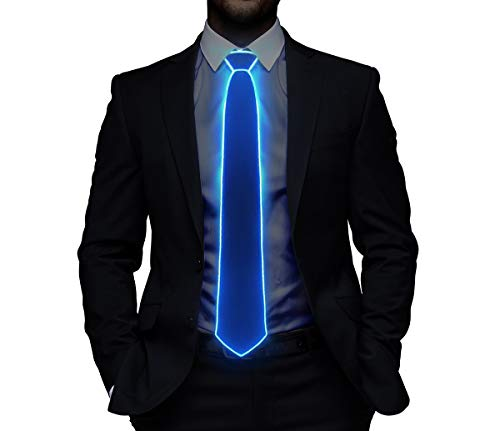 Light Up Christmas Ties LED Light Neck Tie Novelty Necktie For Men Costume Accessory (Blue)]()