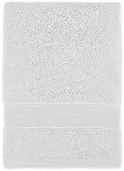 "Wamsutta Classic Turkish Embroidered Bath Towel in White//Taupe 30/""x 60/"""