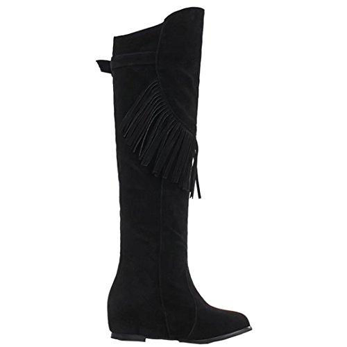 Aiyoumei Womens Hight Boots In Pelle Scamosciata Con Zeppa Crescente Inverno Con Nappe Nere