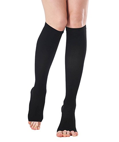 Unisex Medical Open Toe Knee High Compression Socks, Opaque Toeless 20-30mmhg Graduated Firm Support Hose for Nurse Pregnancy Flight - Edema Varicose Veins Compression Stockings (Black, X-Large)
