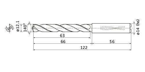 12.1 mm Cutting Dia 2.2 mm Point Length Internal Coolant Mitsubishi Materials MMS1210X3DBMMS Series Solid Carbide Drill 3 mm Hole Depth 14 mm Shank Dia.