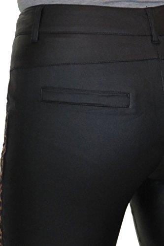 ICE (1549-1) Jeans Moulant Effet Cuir avec Imprimé Animal Noir taille 36 à 46.