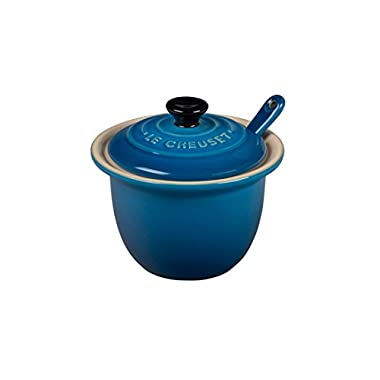 Le Creuset of America Stoneware Condiment Pot with Spoon, 6 3/4-Ounce, Marseille