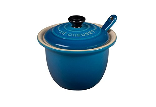 Le Creuset of America Stoneware Condiment Pot with Spoon, 6 3/4-Ounce, Marseille PG0080CB-1059