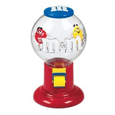 Gumball Machine Dispenser - M&M Candy Dispenser -- Pull Lever and Dispense M & M Candy -- as shown with Red M&M and Yellow M&M