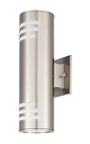 Light 13 Wall Outdoor Bracket (Outdoor Modern Wall Sconce by COOL CARE - Exterior Lighting and Contemporary Housing Décor - Waterproof Stainless Steel Flush Mount Cylinder Design - Up Down Light Fixture for Backyard, Patio (Silver))