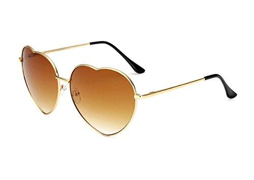 de rétro forme Gradient Glasses de en Lens Classique soleil Huateng Brown coeur Lunettes polarisé aWq8x5