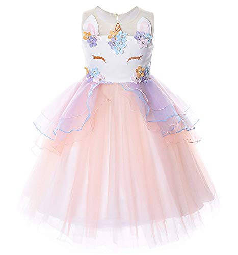 TTYAOVO Flower Girls Unicorn Costume Kids Pageant Princess Party Dress Size 5-6 Years Pink -