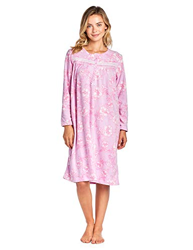 Casual Nights Women's Long Sleeve Printed Micro Fleece Nightgown - Pink - Large