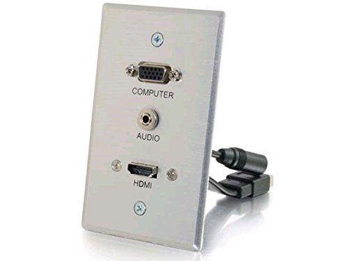 C2G/Cables to Go 60144 HDMI, VGA, Stereo Pass Through, Single Gang Wall Plate - ()