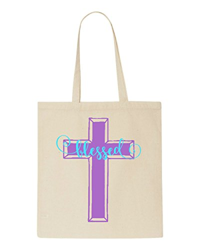 Bag Beige Shopper Christian Tote Cross Blessed w8qgvR6