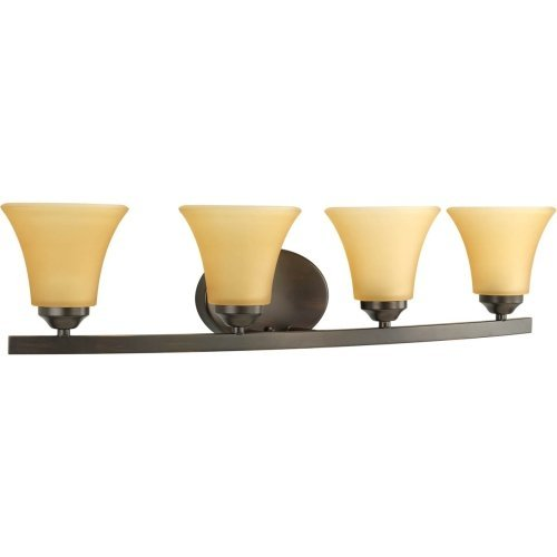 Progress Lighting P2011-20 Adorn Collection 4-Light Vanity Fixture, Antique Bronze