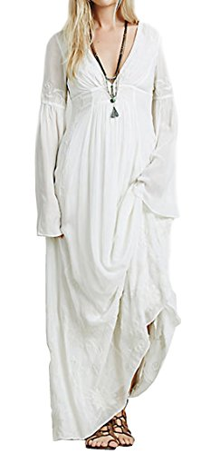 R.Vivimos Women Fall Winter Sexy Deep V-neck Long Sleeve Long Dress Large White (Sexy Mexican Woman)