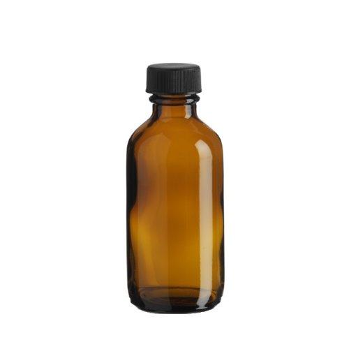 Premium Vials B26-12AM Boston Round Glass Bottle with Cap, 2 oz Capacity, Amber (Pack of 12)