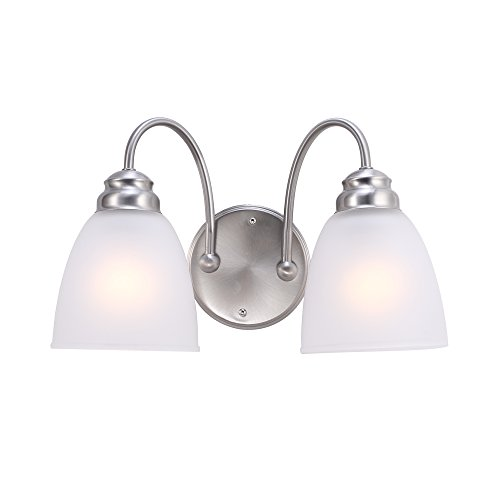 7Pandas 2 Light Wall Light Sconce Fixutre, Indoor Wall Mount Vanity Light with White Frosted Glass, 14-Inch Length, Satin Nickel, UL Listed - Two Light Vanity Sconce