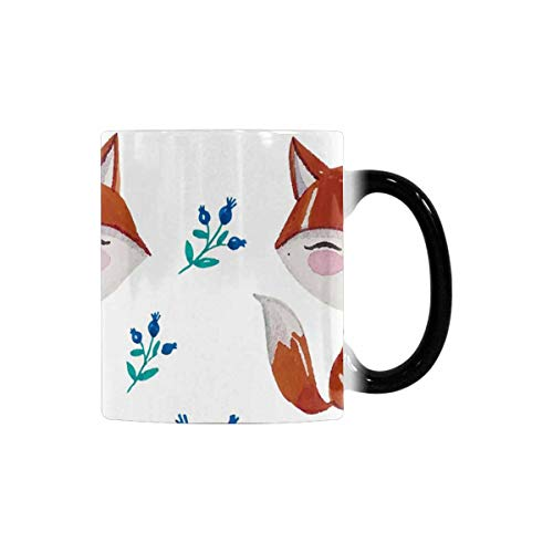 InterestPrint Funny Morphing Coffee Mug, Watercolor Fox and Branches Heat Sensitive Color Changing Tea Cup Mug, 11oz Novelty Cute Gift for Boys Girls Sister Brother