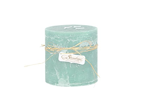 - Stonebriar Textured Pillar Candle, 6 by 6-Inch, Pale Ocean