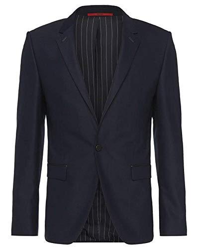 Hugo Boss Men's Arenz Extra Slim Fit Wool Blend Sportcoat 40R Navy Leather Trim