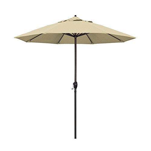 California Umbrella 9' Round Aluminum Market Umbrella, Crank Lift, Auto Tilt, Bronze Pole, Champagne Olefin