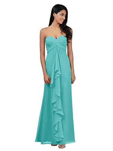 Alicepub Maxi Bridesmaid Dress Long Evening Dresses Chiffon Formal Prom Gown, Aqua Blue, US4