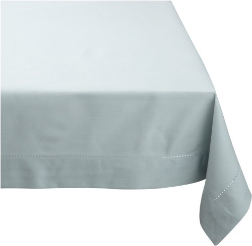 Mahogany Solid-Color 100-Percent Cotton Hemstitch Tablecloth, 60-Inch by 90-Inch Rectangle, Aqua -