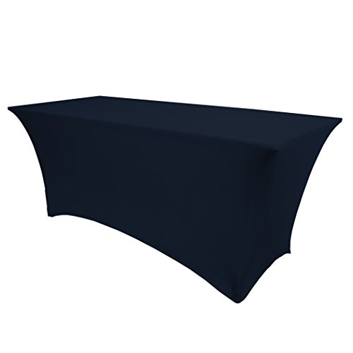 Ultimate Textile (2 Pack) 8 ft. Fitted Spandex Table Cover - for 24 x 96-Inch Banquet and Folding Rectangular Tables, Navy Blue by Ultimate Textile (Image #1)