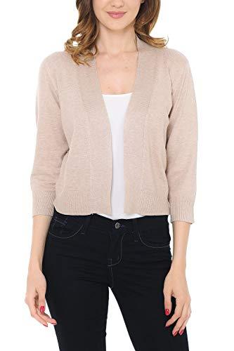 Women's Classic Casual Solid Open Front Sweater Knit Bolero Khaki Medium ()