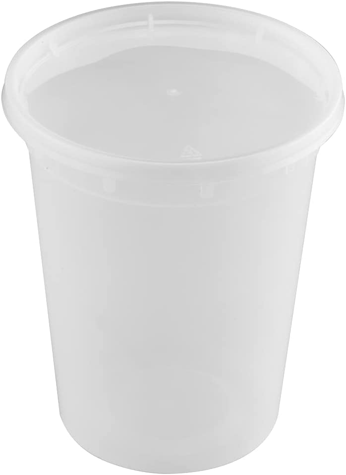 T TIYA Deli Containers Plastic Food Storage To-Go Containers - Reusable Microwavable Dishwasher Safe Restaurant Takeout Cups - Airtight Leak Proof for Soups & Meal Prep - 32oz Bulk 240 Pack with Lids