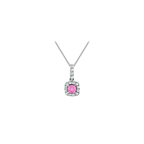 (Fancy Square Created Pink Sapphire and Cubic Zirconia Halo Pendant in 14K White Gold)