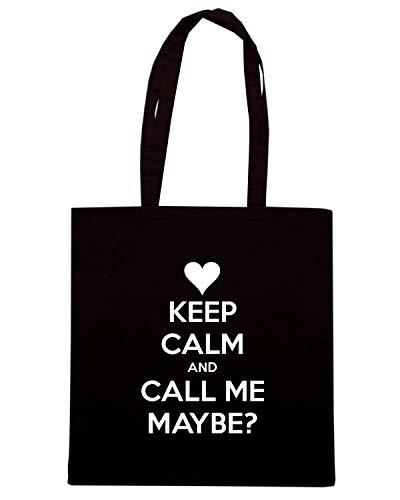 Speed Shirt Borsa Shopper Nera TKC1144 KEEP CALM AND CALL ME MAYBE
