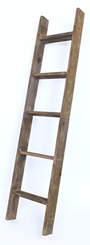 BarnwoodUSA Rustic 5 Foot Decorative Bookcase Ladder, 100% Reclaimed Wood, Brown