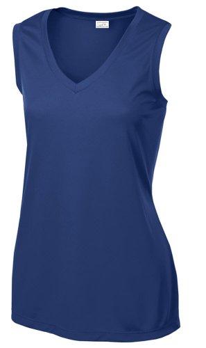 Joe's USA Ladies Sleeveless Athletic Tee Shirt. Sizes XS-4XL True Royal