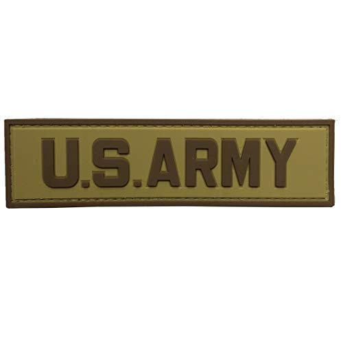 - US Army Tab PVC Rubber Military Morale Patch with Fastener Hooked by uuKen Tactical Gear (Tan)