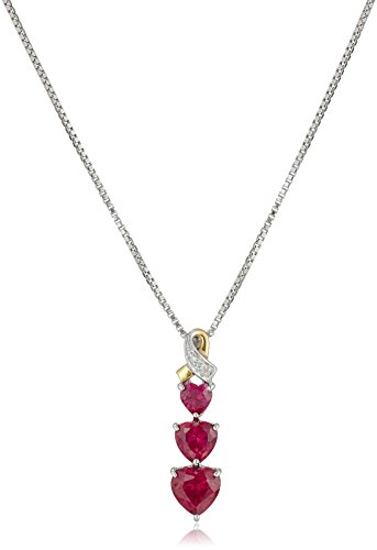 Sterling Silver and 14k Yellow Gold Diamond and Heart-Shaped Created Ruby Pendant Necklace (0.007 (Heart Ruby Necklace)