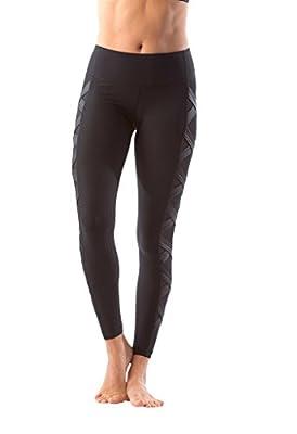 90 Degree By Reflex Women's High Fashion Criss Cross Workout Leggings Sheer Mesh Panels