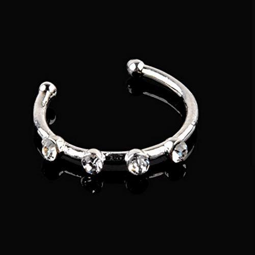 Xiton Sumanee 15MM Kristalledelstahl-Nasen-Ring-kühler Punk Body Piercing-Knochen-Bolzen-Schmuck (Silber)