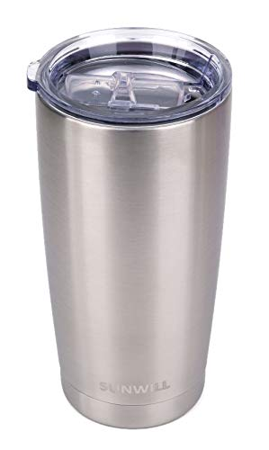 (SUNWILL 20oz Tumbler with Lid, Stainless Steel Vacuum Insulated Double Wall Travel Tumbler, Durable Insulated Coffee Mug, Silver, Thermal Cup with Splash Proof Sliding Lid)