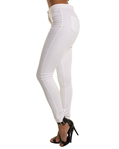 Blanc Haute trou Blanc Femme Trou Noir Slim a Taille Bleu Pantalon Mince Jeans ZvwgqB