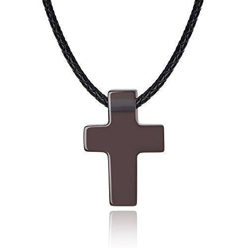 e Obsidian Stone Cross Pendant Necklace ()