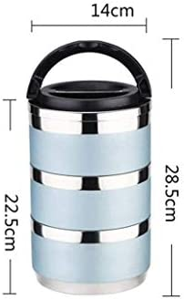 多層積み重ね可能なステンレス鋼断熱ランチボックスポータブルパーティションランチボックス大容量オフィスワーカーマルチユース断熱バケットブルー