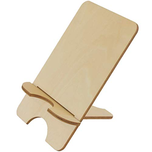 Wood Phone Stand - Unfinished Laser Cut Wood with Minimalist Design - Great Phone or Small Tablet Holder and Displaying Merchandise - Suitable for Painting and Decorating